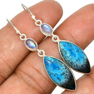 Jewelry - Blue Dendrite Opal Earrings with Moonstones 925 SS